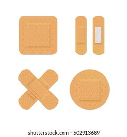Bandage Plaster Aid Band Medical Adhesive Set 3D Illustration Isolated on White Background