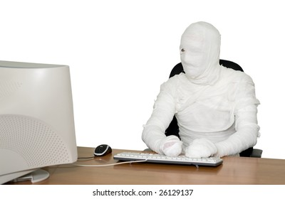The bandaged boss in office on black
