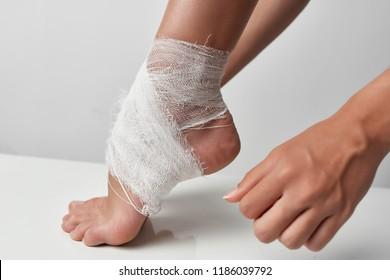 bandaged heel and lower leg