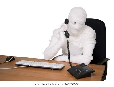 Bandaged man in office calling by telephone