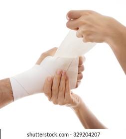Bandage.Pain concept. Isolated on white background