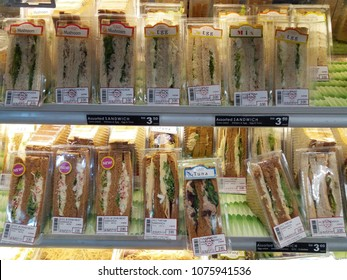 Bandar Bukit Tinggi , Malaysia - 17 April 2018 : Assorted Sandwich packet for sell display in the supermarket.Mobile photoghpy.