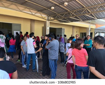 Bandar Seri Alam, Johor - 9 May 2018 : Many people multi races was que in line during polling of election day to choose leader of country and state