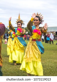 BANDAR SERI BEGAWAN, BRUNEI - 8 OCTOBER 2017 : Local dancers performing traditional dance in conjunction with the celebration to mark the glorious history of 50 years of His Majesty The Sultan of Brun