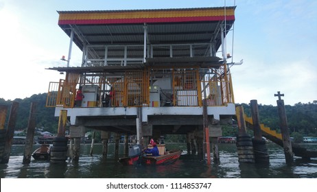 Bandar Seri Begawan / Brunei Darussalam -  Nov 2, 2017: Shell gas station in Kampong Ayer, the only gas station for boats in the water village