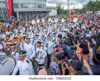 BANDAR SERI BEGAWAN, BRUNEI - OCTOBER 5, 2017: Thousands of well-wishers take over the streets of the capital of Brunei in His Majesty 50 years Golden Jubilee.