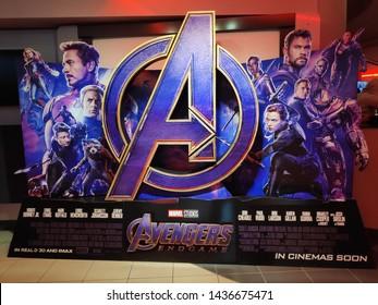 BANDAR SERI BEGAWAN,BRUNEI - CIRCA APRIL,2019 : A Standee of The Marvel Hero Movie Avengers Endgame display at cinema.