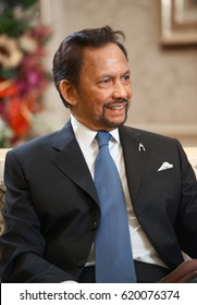 Bandar Seri Begawan,Brunei Darussalam/MARCH 31,2017: Sultan of Brunei Hassanal Bolkiah during an audience with Russian television journalists