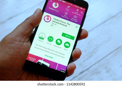 BANDAR SERI BEGAWAN,BRUNEI - JULY 25TH,2018 : A male hand holding smartphone with Firefox Focus app on an android Google Play Store
