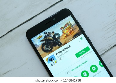 BANDAR SERI BEGAWAN,BRUNEI - JULY 25TH,2018 : Smartphone with PUBG Mobile app on an android Google Play Store.
