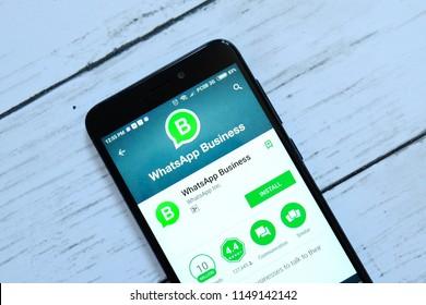 BANDAR SERI BEGAWAN,BRUNEI - JULY 25TH,2018 : Whatsapp Business application on an android Google Play Store.