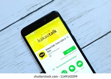 BANDAR SERI BEGAWAN,BRUNEI - JULY 25TH,2018 : Kakaotalk application on an android Google Play Store.