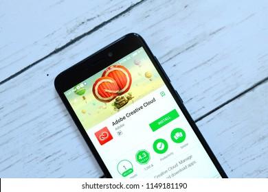 BANDAR SERI BEGAWAN,BRUNEI - JULY 25TH,2018 : Adobe Creative Cloud  application on an android Google Play Store.
