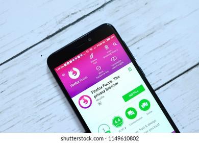 BANDAR SERI BEGAWAN,BRUNEI - JULY 25TH,2018 : Firefox Focus application on an android Google Play Store.