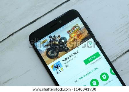Bandar Seri Begawanbrunei July 25 Th 2018 Smartphone Stock Photo - bandar seri begawan brunei july 25th 2018 smartphone with pubg mobile app