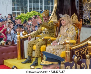Bandar Seri Begawan/Brunei - Oct 5, 2017.  Brunei's Sultan marked 50 years on the throne with a glittering procession which the monarch being carried past huge crowds of well-wishers in a chariot.