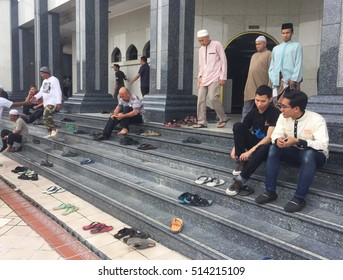 Bandar Seri Begawan,Brunei-Nov 11,2016:Brunei Muslims after performing the Jummah prayer on Friday in Jame Asr Hassanil Bolkiah mosque at Bandar Seri Begawan,Brunei  Darussalam on 11th Nov 2016.
