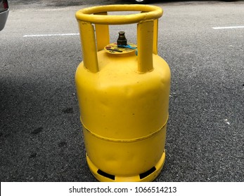Bandar Seti Alam, Johor - 6 March 2018 : LPG gas drum yellow painted ready to setup at kitchen and cooked.