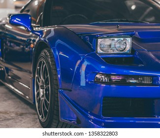 Bandar Sunway, Selangor- March 30 2019: View of Blue Honda NSX from the front at Retrohavoc Event