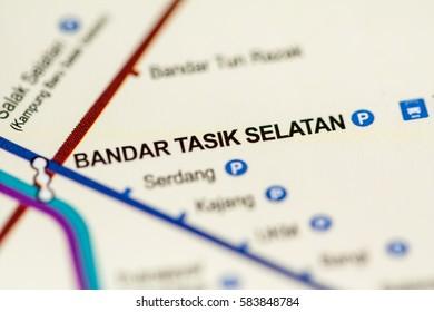Bandar Tasik Selatan Station. Kuala Lumpur Metro map.