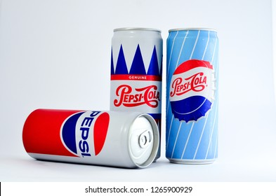 Bandar Utama, Malaysia - 24 December, Pepsi soft drink in cans on white background - Image