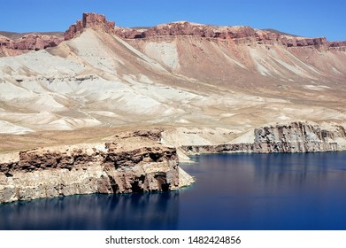Band-e Amir lakes near Bamyan (Bamiyan) in Central Afghanistan. Band e Amir was the first national park in Afghanistan. This is the largest of the natural blue lakes at Band e Amir in the Hindu Kush.