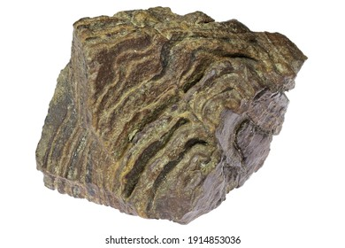 banded iron ore from desert area in northern Chad, Africa isolated on white background