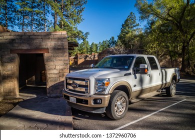 Bandelier National Monument, NM, USA - April 14, 2018: The F350 Ford parked along the preserve park