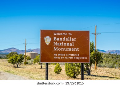 Bandelier National Monument, NM, USA - April 14, 2018: A welcoming signboard at the entry point of preserve park