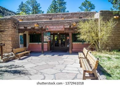 Bandelier National Monument, NM, USA - April 14, 2018: A visitor center of the preserve park