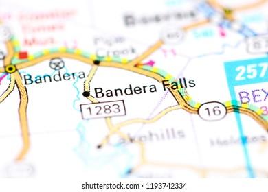 Bandera Falls. Texas. USA on a map