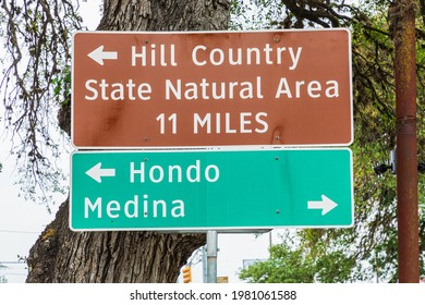 Bandera, Texas, USA. Road signs in the Texas hill country.