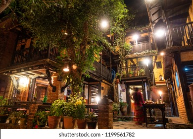 BANDIPUR, NEPAL - CIRCA MAY 2018: The Old Inn hotel at night. It was opened in 2000 and consists of two adjoining traditional Newari houses.