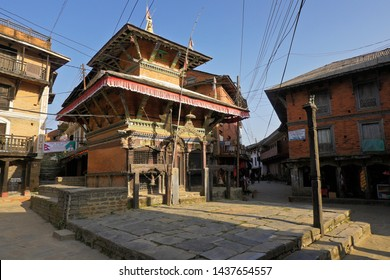 BANDIPUR, NEPAL — NOVEMBER 9, 2018. Bindhesbasini Hindu temple stands at the end of the main street in the historic Newari trading post town of Bandipur in Nepal's Tanahan District.