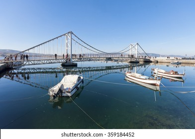 Bandirma, Turkey - February 10, 2011 : Imitation of Bosphorus Bridge view in Bandirma. The city is a commercial centre and its harbour serves as a transit point for trade between Istanbul and Izmir.