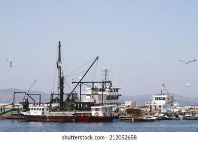 BANDIRMA, TURKEY - JULY 10: Sea port cranes in the seaport Bandirma on July 10, 2014 in Bandirma.