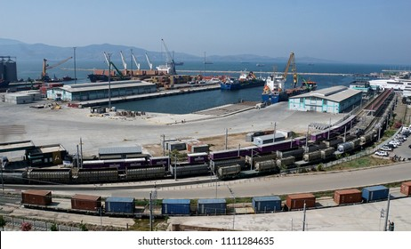 Bandirma/TURKEY, May 11, 2018: Container ship into harbor, Bandirma port, one of  container port in Turkey