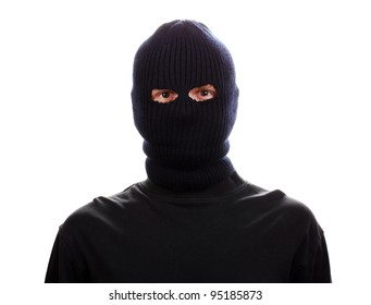 Bandit in black mask isolated on white