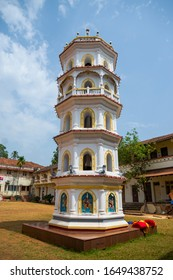 Bandivade village, Goa, India - April 12, 2015: Deep Jyoti Stambh or Deepa Stambha is a unique piece of Hindu architectural structure, the Sri Nagesh Maharudra temple.