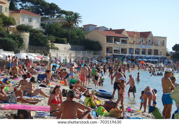 Bandol, France - August 2017 - Crowded Beach In South Of France, Large Population Of People On The Beach - Summer Vacation