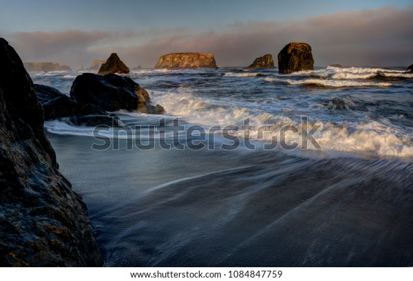 Bandon Oregon Coast sunset waves summer USA