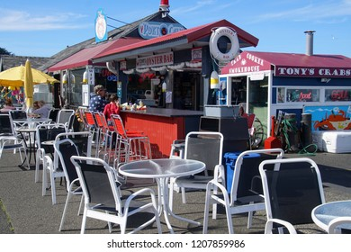 BANDON, OREGON - OCT 3, 2018 - Waterfront seafood restaurant on the shore of Coquille River, Bandon, Oregon