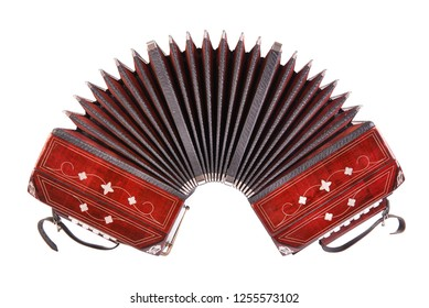 Bandoneon, tango instrument, front view, isolated on white background