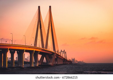 Bandra Worli Sea link, Mumbai at Sunset