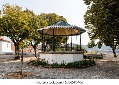 Bandstand of octagonal design built in 1927 located in the churchyard of the Parish Church of St Peter, in Sertã, Portugal
