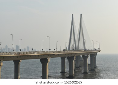 Bandstand Promenade also Bandstand a walkway along the sea on the western coast of Mumbai,India popular hangout spot Mahim Bay,Arabian Sea.cable-stayed bridge with pre-stressed concrete Worli-Nariman