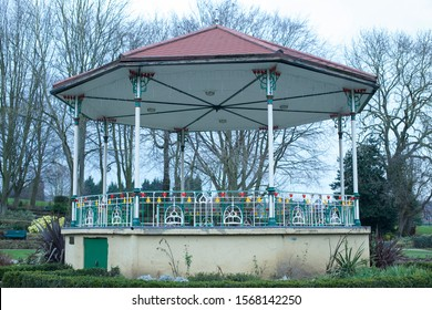 Bandstand in town park old and neglected. Concepts of traditional values, public music, brass band music, mining town