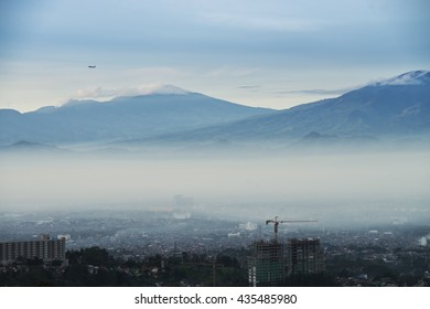 Bandung, the capital city of West Java Province in Indonesia is under the haze in the morning.