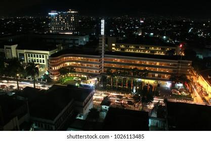 Bandung - Circa February 2018: Nightcity scape image of Bidakara Hotel at Asia Africa Street, Bandung Indonesia.