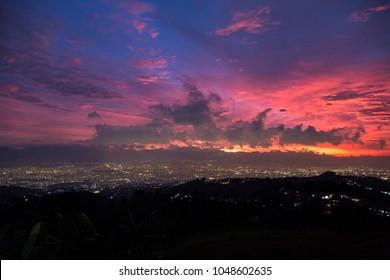 Bandung city sunset aerial view taken from Warung Moko (2)